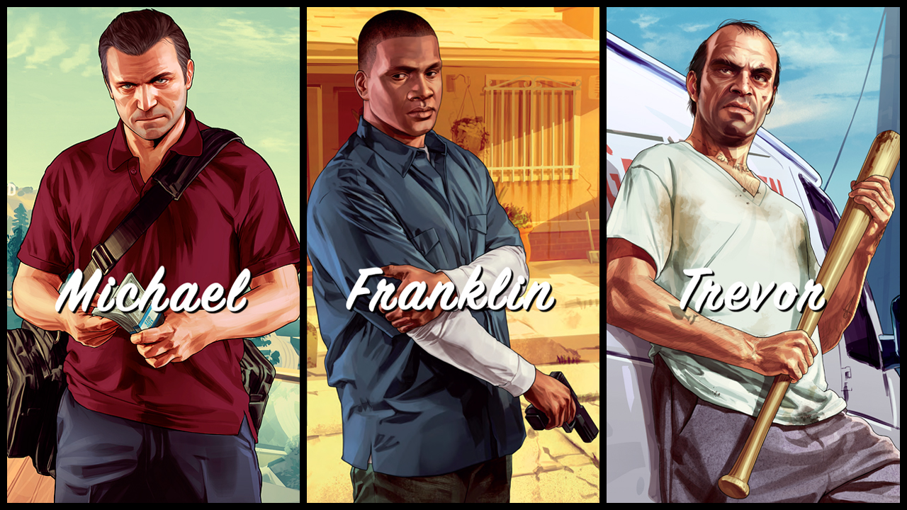 Gta  Michael Franklin Trevor Art_