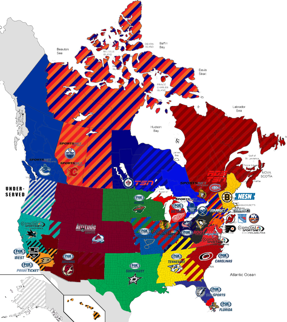 GRAPHIC New NHL Divisions By TV Coverage Zone Mile High Hockey - Us time zone map 2015