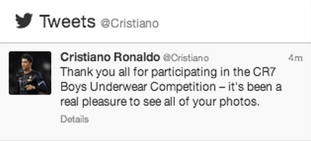 Maybe Cristiano Ronaldo shouldn't hold a boys underwear ...
