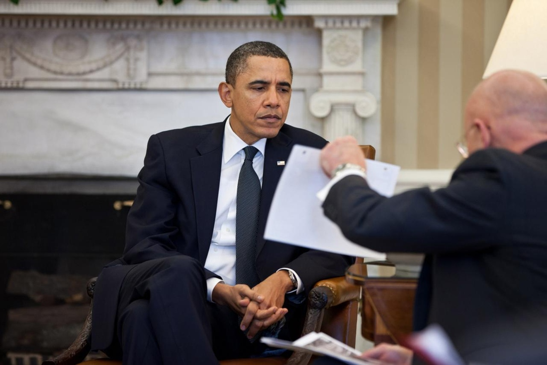 President Obama meeting with Director of National Intelligence James Clapper