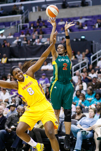 Swin Cash is one of multiple Seattle Storm players going through an unprecedented three point shooting slump. Her ability to get to the free throw line might be one way they can overcome it. Photo by Craig Bennett/112575 Media.
