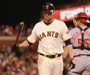 SAN FRANCISCO, CA : Aubrey Huff #17 of the San Francisco Giants walks back to the dugout after he struck out in the sixth inning against the Cincinnati Reds at AT&T Park in San Francisco, California. (Photo by Ezra Shaw/Getty Images)