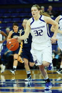 While University of Washington senior Sami Whitcomb had an impressive game statistically with 23 points, 11 rebounds, 5 steals, and 5 assists, it was the team's disciplined defensive effort that led to a 106-34 victory over Corban College. (Photo gallery available via jlindstr.smugmug.com)