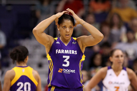 PHOENIX, AZ - SEPTEMBER 03:  Candace Parker #3 of the Los Angeles Sparks reacts during the WNBA game against the Phoenix Mercury at US Airways Center on September 3, 2011 in Phoenix, Arizona. The Mercury defeated the Sparks 93-77. (Photo by Christian Petersen/Getty Images)