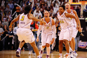 Of these four Phoenix Mercury core players, only Diana Taurasi is under contract for the 2010 season. Mercury GM Ann Meyers-Drysdale admits that it will be very difficult to return the entire roster given a significant cut to the salary cap which was done to save teams money. (Photo by Max Simbron)