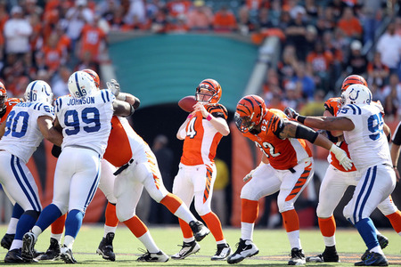 CINCINNATI, OH - OCTOBER 16:  Andy Dalton #14 of the Cincinnati Bengals throws a pass during the NFL game against the Indianapolis Colts at Paul Brown Stadium on October 16, 2011 in Cincinnati, Ohio. The Bengals won 27-17.  (Photo by Andy Lyons/Getty Images)