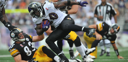 BALTIMORE, MD - SEPTEMBER 11:  Ed Reed #20 of the Baltimore Ravens runs back an interception against the Pittsburgh Steelers at M&amp;T Bank Stadium on September 11, 2011 in Baltimore, Maryland. The Ravens defeated the Steelers 35-7. (Photo by Larry French/Getty Images)