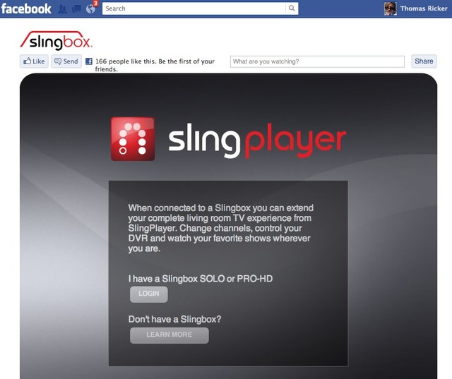 Slingplayer for FAcebook