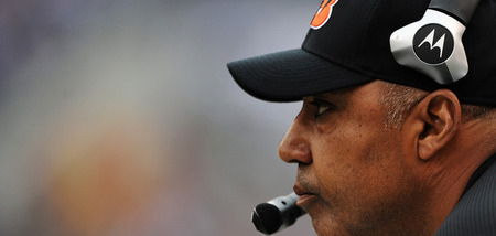 BALTIMORE, MD - NOVEMBER 20: Coach Marvin Lewis of the Cincinnati Bengals watches play against the Baltimore Ravens during the second half at M&amp;T Bank Stadium on November 20, 2011 in Baltimore, Maryland. The Ravens won, 31-24. (Photo by Patrick Smith/Getty Images)