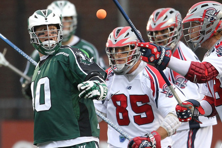 BOSTON, MA - JUNE 11:  Mitch Belisle #85 of the Boston Cannons battles Matt Danowski #40 of the Long Island Lizards for control of the ball at Harvard Stadium on June 11, 2011 in Boston, Massachusetts. (Photo by Jim Rogash/Getty Images)