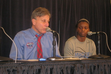 DePaul's Doug Bruno and Keisha Hampton meet with the media at the Maggie Dixon Classic. Photo by Ray Floriani.