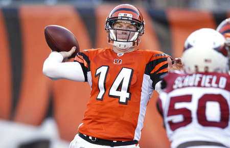 CINCINNATI, OH - DECEMBER 24: Andy Dalton #14 of the Cincinnati Bengals throws a pass against the Arizona Cardinals at Paul Brown Stadium on December 24, 2011 in Cincinnati, Ohio. The Bengals defeated the Cardinals 23-16. (Photo by Joe Robbins/Getty Images)