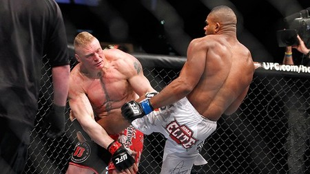 Brock Lesanr (left) lost to Alistair Overeem (right) at UFC 141 on Fri., Dec. 30, 2011, at the MGM Grand Garden Arena in Las Vegas, Nevada. Photo via ESPN.com.  