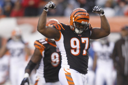 CINCINNATI, OH - NOVEMBER 27:  Geno Atkins #97 of the Cincinnati Bengals celebrates a sack of Colt McCoy #12 of the Cleveland Browns during their game at Paul Brown Stadium on November 27, 2011 in Cincinnati, Ohio.  The Bengals defeated the Browns 23-20.  (Photo by John Grieshop/Getty Images)