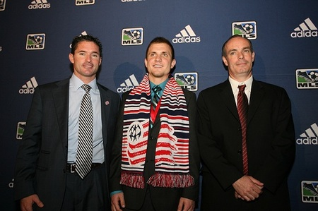 Revolution second-round pick Tyler Polak, out of Creighton, is presented to the media at Thursday's MLS SuperDraft. Polak, a Generation Adidas player, was pick number 22.