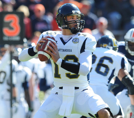 AUBURN AL - NOVEMBER 6: Quarterback B. J. Coleman #19 of the Chattanooga Mocs sets to pass against the Auburn Tigers November 6 2010 at Jordan-Hare Stadium in Auburn Alabama.