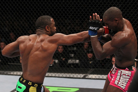 CHICAGO, IL - JANUARY 28: (L-R) Rashad Evans punches Phil Davis during the UFC on FOX event at United Center on January 28, 2012 in Chicago, Illinois. (Photo by Nick Laham/Zuffa LLC/Zuffa LLC via Getty Images).
