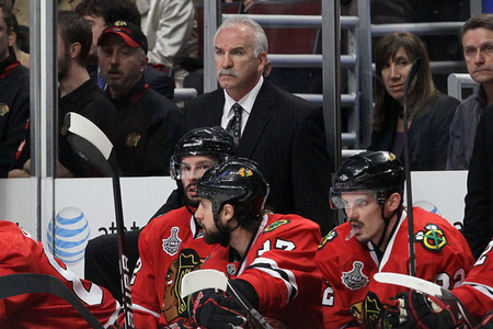 CHICAGO - MAY 31:  Head coach Joel Quenneville of the Chicago Blackhawks looks on from the bench in the second period while taking on the Philadelphia Flyers in Game Two of the 2010 NHL Stanley Cup Final at the United Center on May 31, 2010 in Chicago, Illinois.  (Photo by Jim McIsaac/Getty Images)
