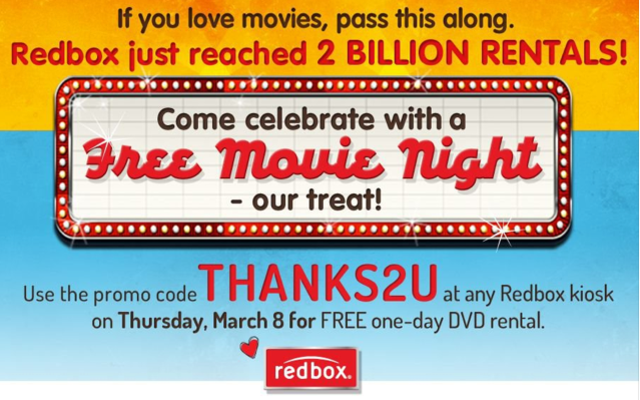 Redbox two billion rentals