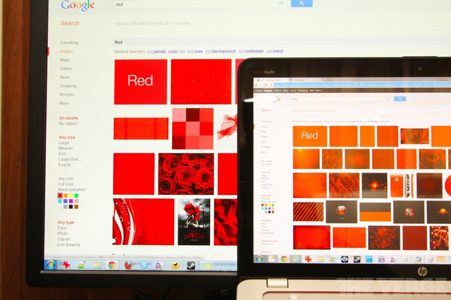 Gallery Photo: HP Envy 15 red / orange screen color comparison pictures
