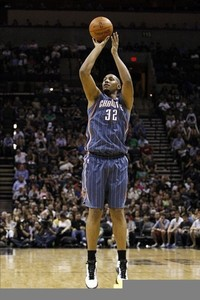 Mar 2, 2012; San Antonio, TX, USA; Charlotte Bobcats center Boris Diaw (32) shoots against the San Antonio Spurs during the second half at the AT&T Center. The Spurs won 102-72. Mandatory Credit: Soobum Im-US PRESSWIRE