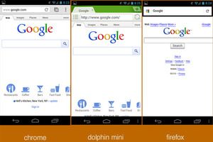 Google's homepage as rendered through different Android browsers