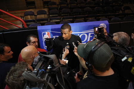 Amare talks to the media after Suns practice on Sunday, May 2, 2010. (Photo by Max Simbron)