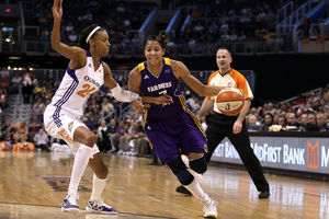 Superstar forward Candace Parker will remain in a Los Angeles Sparks uniform as a multi-year contract was announced by the Sparks today.  (Photo by Christian Petersen/Getty Images)