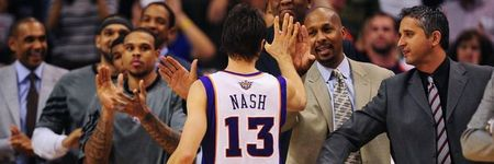 Apr. 25, 2012; Phoenix, AZ, USA; Phoenix Suns guard (13) Steve Nash is greeted by the coaching staff on the bench  after walking off off the court for the final time of the season in the second half against the San Antonio Spurs at the US Airways Center. Mandatory Credit: Mark J. Rebilas-US PRESSWIRE