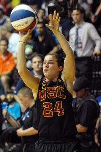 Mar 29, 2012; New Orleans, LA, USA; Southern California Trojans player Ashley Corral shoots during the three point shot championship - which she ultimately won - at Fogelman Arena. Derick E. Hingle-US PRESSWIRE