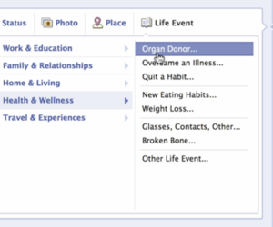Facebook organ donor