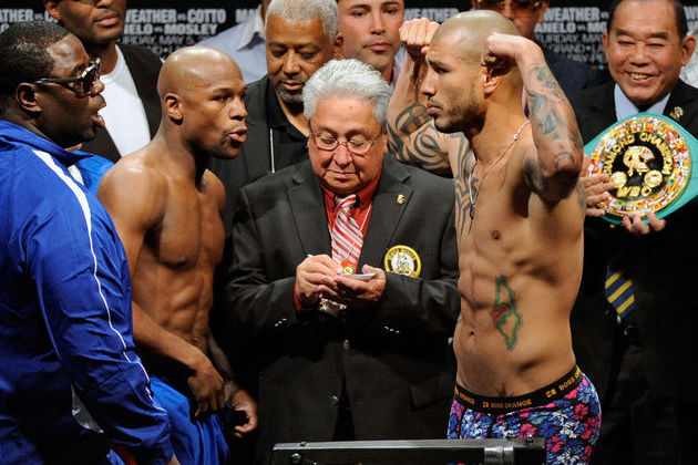 Floyd Mayweather vs. Miguel Cotto is the main event for a top boxing card in Las Vegas on May 5.  (Getty Images)