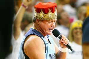May 2, 2012; Memphis, TN, USA; Professional wrestler Jerry Lawler performs during a timeout in the second half of game two of the Western Conference quarterfinals of the 2012 NBA Playoffs between the Memphis Grizzlies and the Los Angeles Clippers at FedEx Forum. Memphis won 105-98. Mandatory Credit: Spruce Derden-US PRESSWIRE