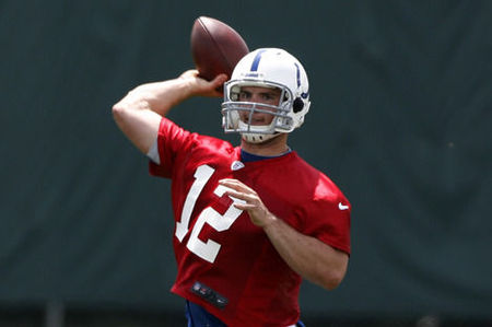 Andrew Luck throws a pass in the rookie minicamp.