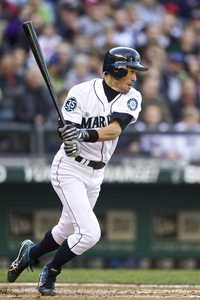 SEATTLE, WA - MAY 5: Ichiro Suzuki #51 hits into a double play during a game against the Minnesota Twins at Safeco Field on May 5, 2012 in Seattle, Washington. (Photo by Stephen Brashear/Getty Images)