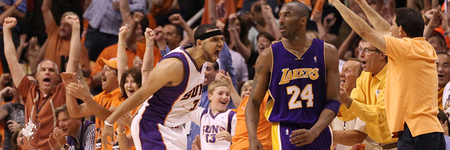 Jared Dudley shows Kobe a little of his intensity. Is this the kind of Suns team we'll see today, or will the roles be reversed?