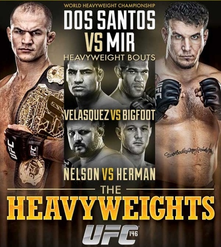 Watch Junior dos Santos defend his heavyweight championship for the first time ever against Frank Mir tonight (May 26, 2012) in the UFC 146 main event from the MGM Grand Garden Arena in Las Vegas, Nevada. UFC 146 poster pic via Ticketmaster.com.