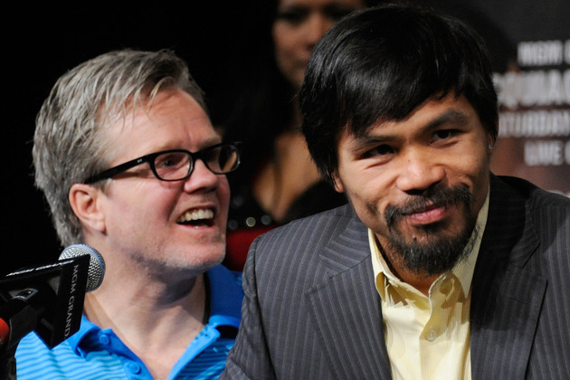 Trainer Freddie Roach, left, will try to guide boxer Manny Pacquiao past Timothy Bradley on Saturday night (Ethan Miller/Getty Images).