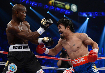 Manny Pacquiao's incredible run ended tonight in a controversial split decision against Timothy Bradley. (Photo by Kevork Djansezian/Getty Images)