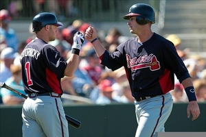 Tyler Pastornicky and Joey Terdoslavich(right) combined to hit 10 doubles for Gwinnett and Mississippi this week.