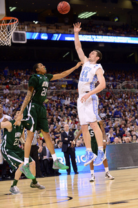 North Carolina Tar Heels forward Tyler Zeller (44) shoots the ball over Ohio Bobcats forward Jon Smith (21)