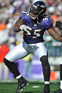 BALTIMORE MD - NOVEMBER 7:  Terrell Suggs #55 of the Baltimore Ravens celebrates a play against the Miami Dolphins at M&T Bank Stadium on November 7 2010 in Baltimore Maryland. The Ravens defeated the Dolphins 26-10. (Photo by Larry French/Getty Images)