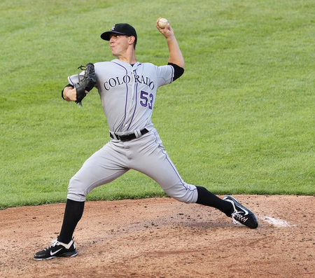 Jun 22, 2012; Arlington, TX, USA; Colorado Rockies pitcher Christian Friedrich (53) pitches in the third inning against the Texas Rangers at Rangers Ballpark.  Mandatory Credit: Matthew Emmons-US PRESSWIRE