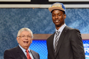 June 28, 2012; Newark, NJ, USA; Harrison Barnes (North Carolina), right, is introduced as the number seven overall pick to the Golden State Warriors by NBA commissioner David Stern during the 2012 NBA Draft at the Prudential Center.  Mandatory Credit: Jerry Lai-US PRESSWIRE