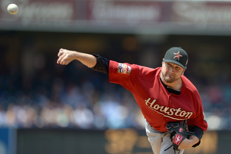 July 18, 2012; San Diego, CA, USA; Houston Astros relief pitcher Brandon Lyon (37) pitches against the San Diego Padres during the sixth inning at PETCO Park. Mandatory Credit: Jake Roth-US PRESSWIRE