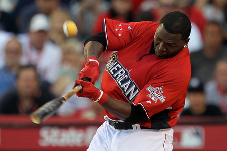 ANAHEIM CA - JULY 12:  American League All-Star David Ortiz #34 of the Boston Red Sox swings the bat during the second round of the 2010 State Farm Home Run Derby during All-Star Weekend at Angel Stadium of Anaheim on July 12 2010 in Anaheim California.  (Photo by Stephen Dunn/Getty Images)