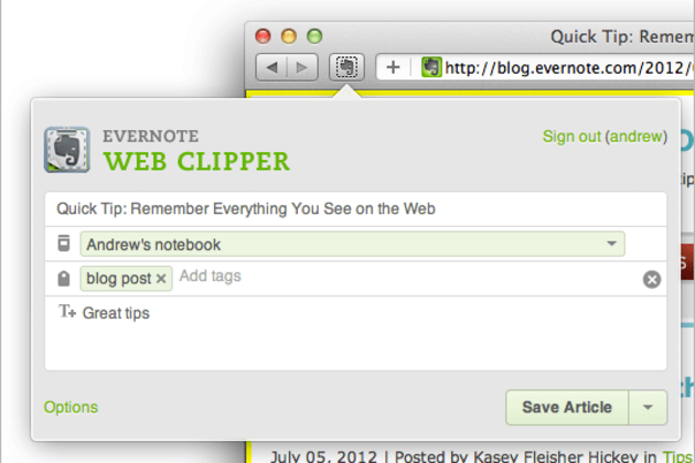photo image Evernote updates Safari browser extension with auto-tag, shared notebook support