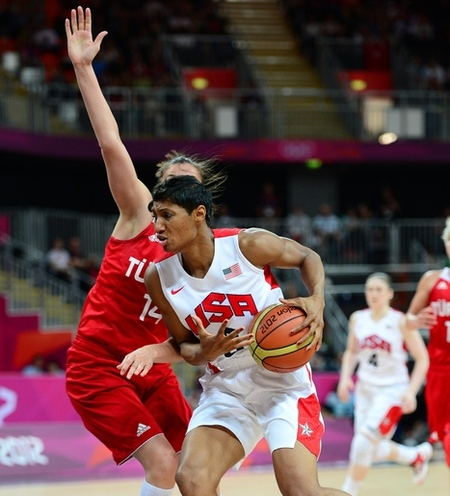 Aug 1, 2012; London, United Kingdom; USA forward Angel McCoughtry (8, right) drives to the basket against Turkey in the second half of a preliminary round group A game during the London 2012 Olympic Games at Basketball Arena. USA defeated Turkey 89-58. Photo by Kyle Terada-USA TODAY Sports.