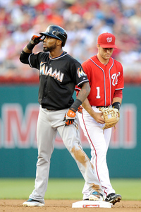 WASHINGTON, DC - AUGUST 04:  Jose Reyes #7 of the Miami Marlins stands on second base after hitting a double in the third inning against the Washington Nationals at Nationals Park on August 4, 2012 in Washington, DC.  (Photo by Greg Fiume/Getty Images)