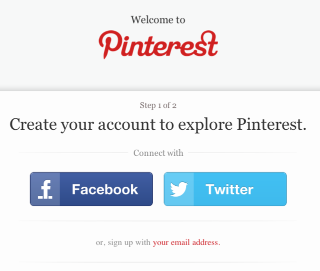 Pinterest sign up screen